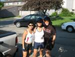 Mary, Claudia, and Katie ready to bike